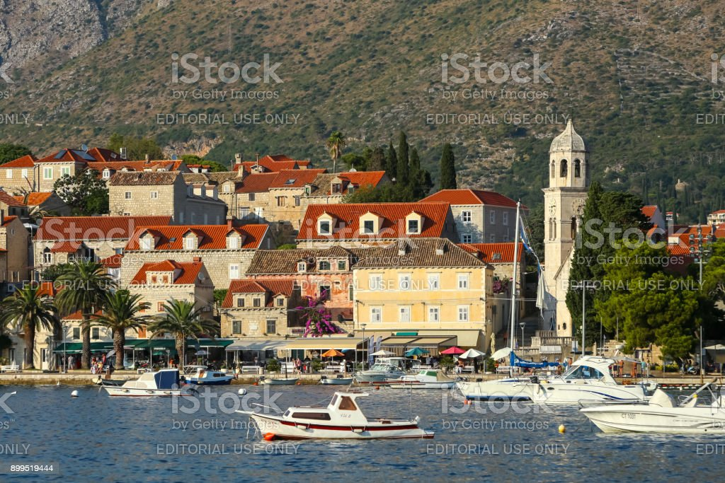 Boats anchored at Cavtat seaside stock photo
