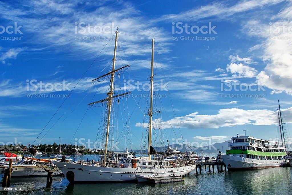 Boats anchored at Denarau port, Viti Levu, Fiji stock photo