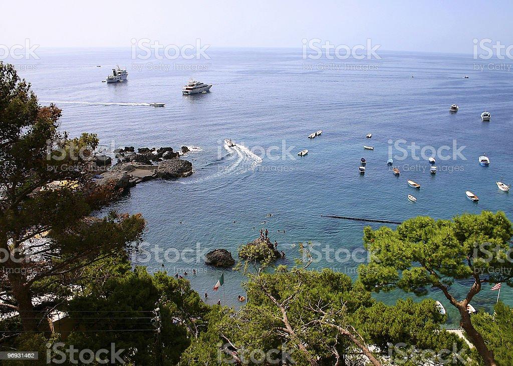 Boats anchored in bay royalty-free stock photo
