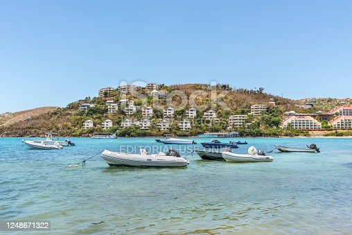 istock Boats anchored in the Water Bay, St. Thomas, U.S. Virgin Islands 1248671322