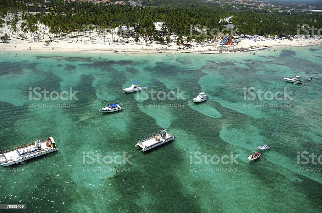 Boats and beach from above stock photo