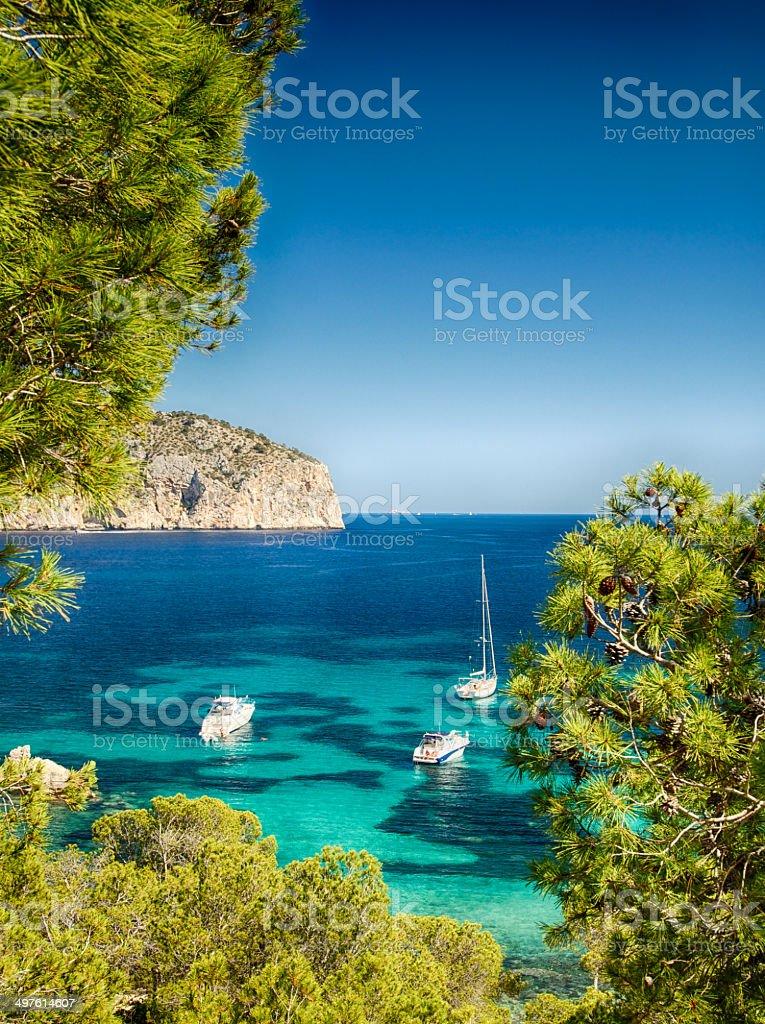 Imbarcazioni e blu mare Maiorca - foto stock