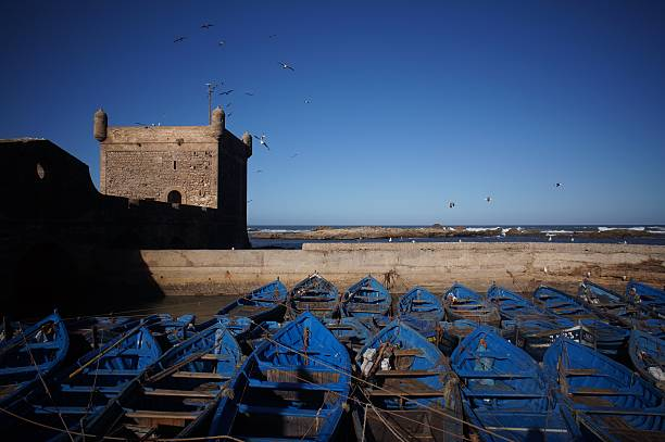 boats and castle in essouira stock photo