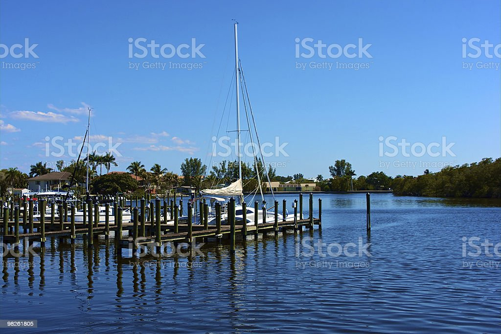 boats and dock in canal stock photo