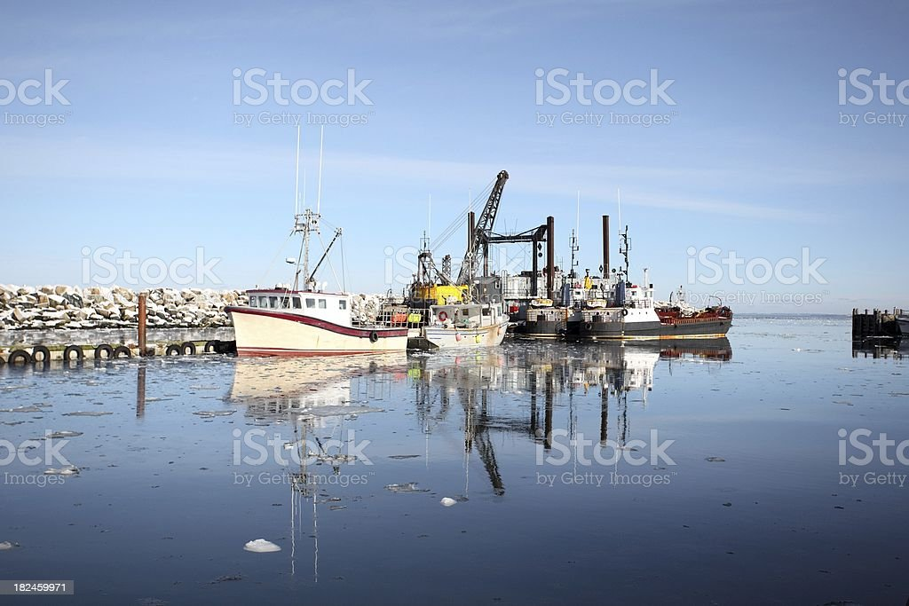 Boats and dredger royalty-free stock photo