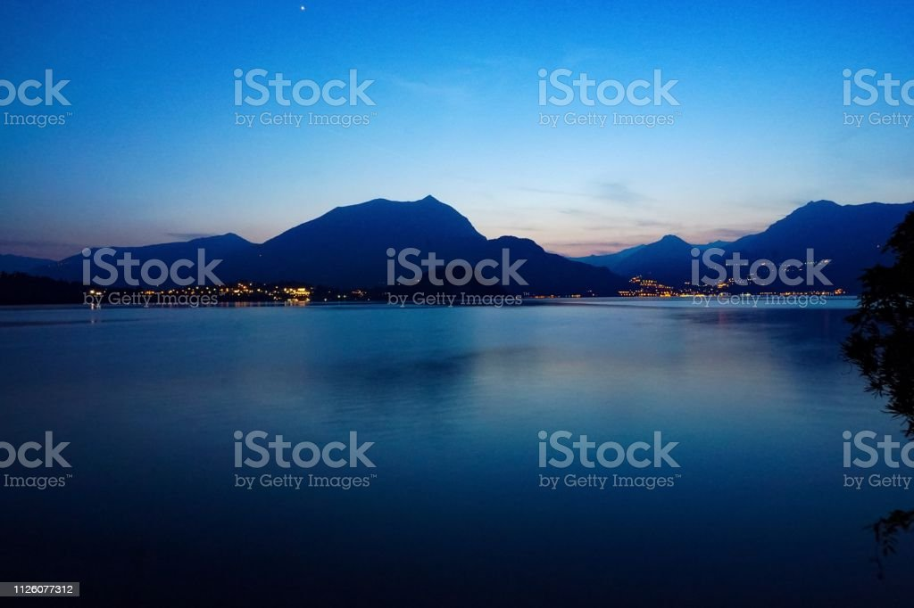 Boats and houses in Bellagio, Lake Como, Italy stock photo