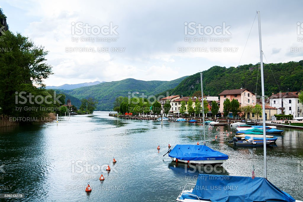 Boats and lake Lugano in Lavena die Ponte Tresa royalty-free stock photo