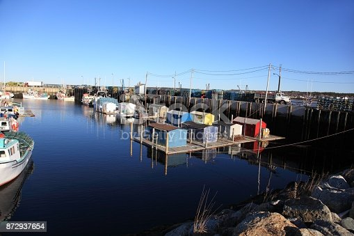 Boats and lobster cars, picture taken at Meteghan Wharf, Nova Scotia, Canada