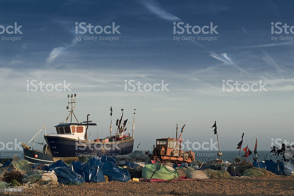 Boats and tractor, Hastings royalty-free stock photo