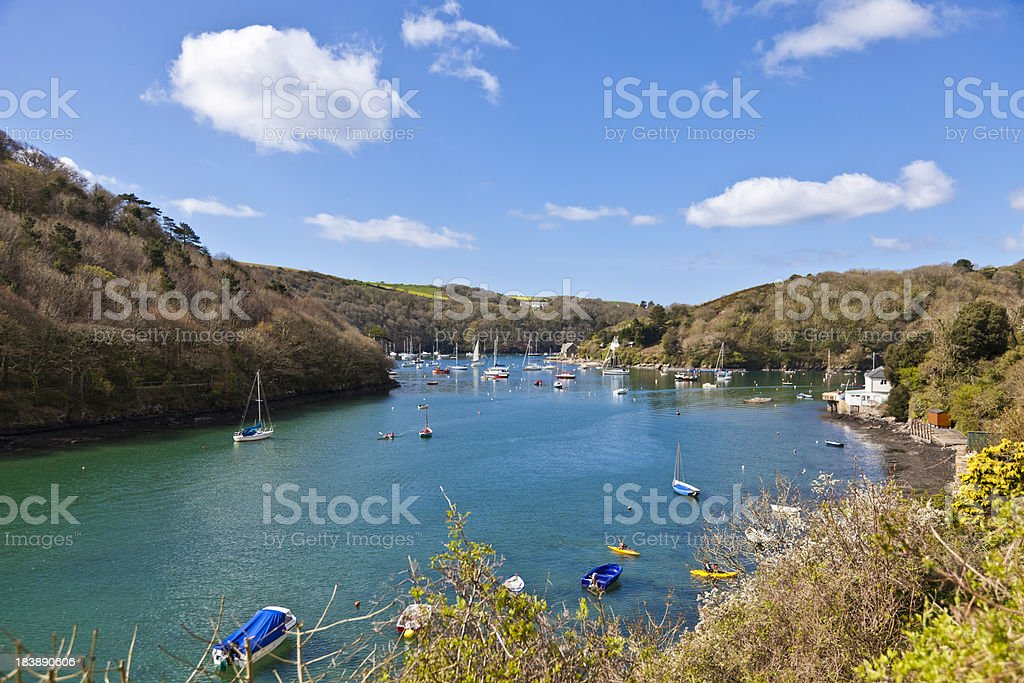 Boats and woodland at Newton Ferrers Devon England stock photo