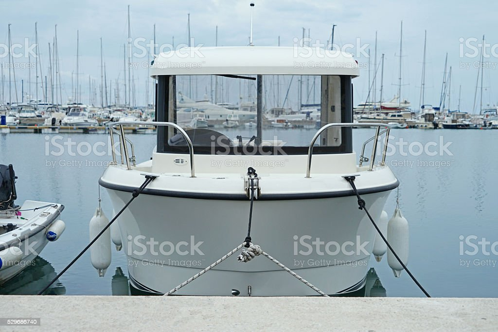 Boats and yachts in a bay of Adriatic sea stock photo