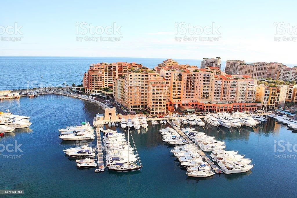 Boats and yachts in Monaco harbor royalty-free stock photo