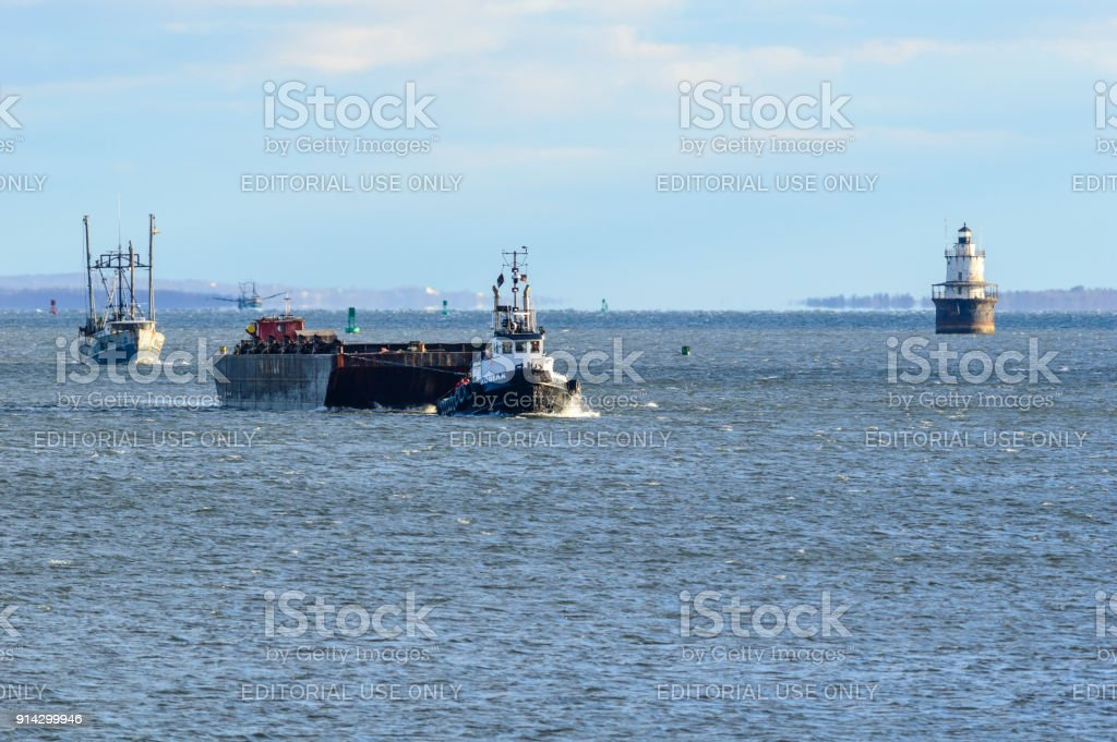 Boats approaching New Bedford from Buzzards Bay stock photo