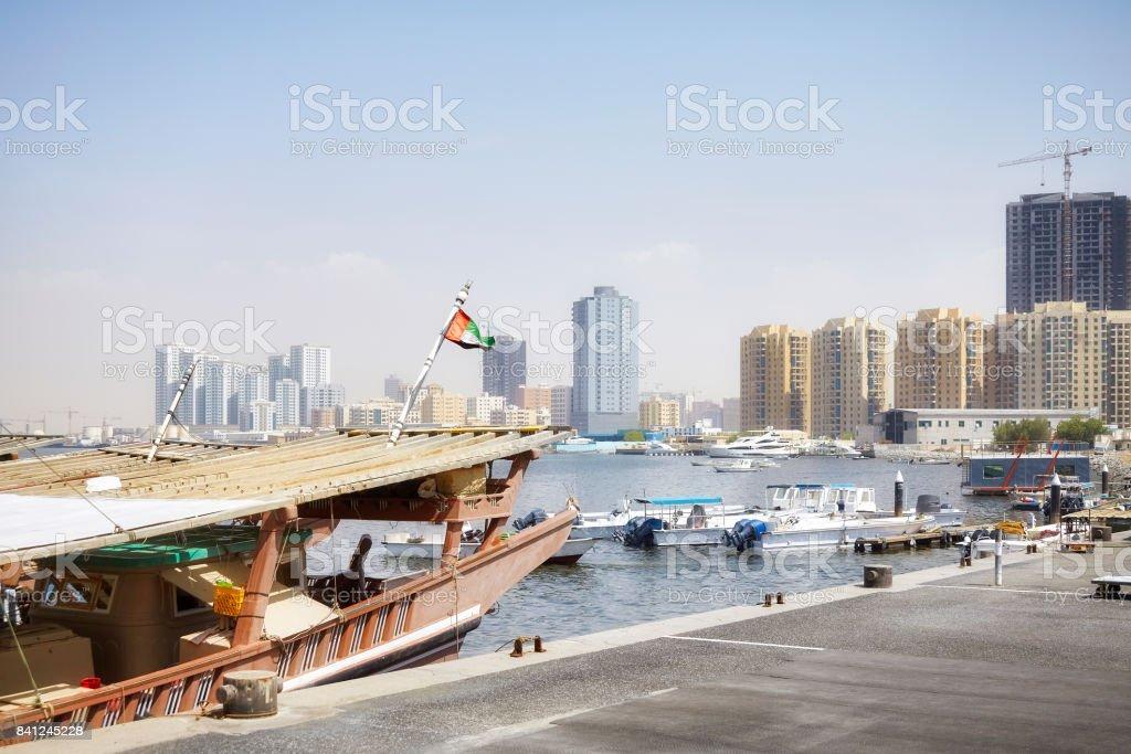 Boats at Ajman harbor. stock photo