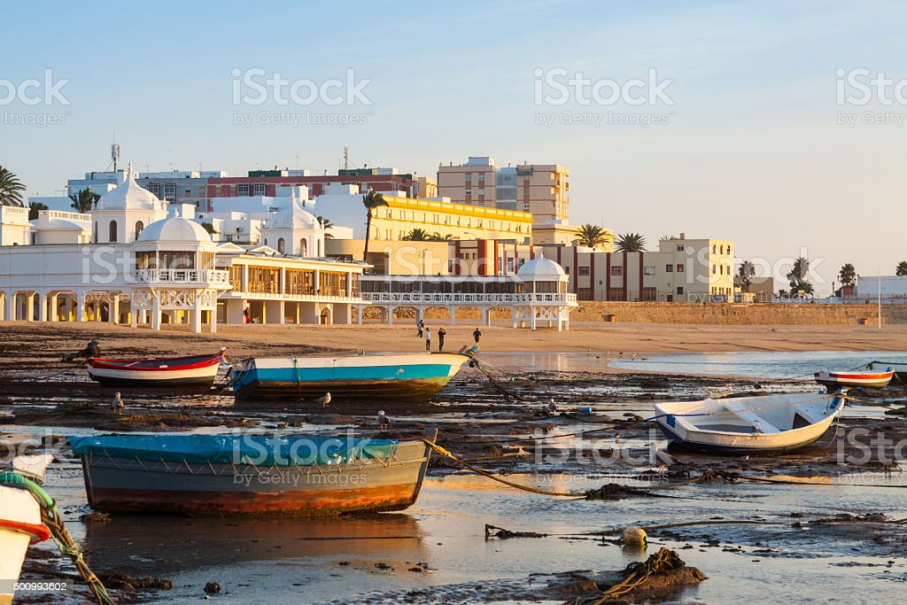 Boats at Caleta beach in  Cadiz, Spain stock photo
