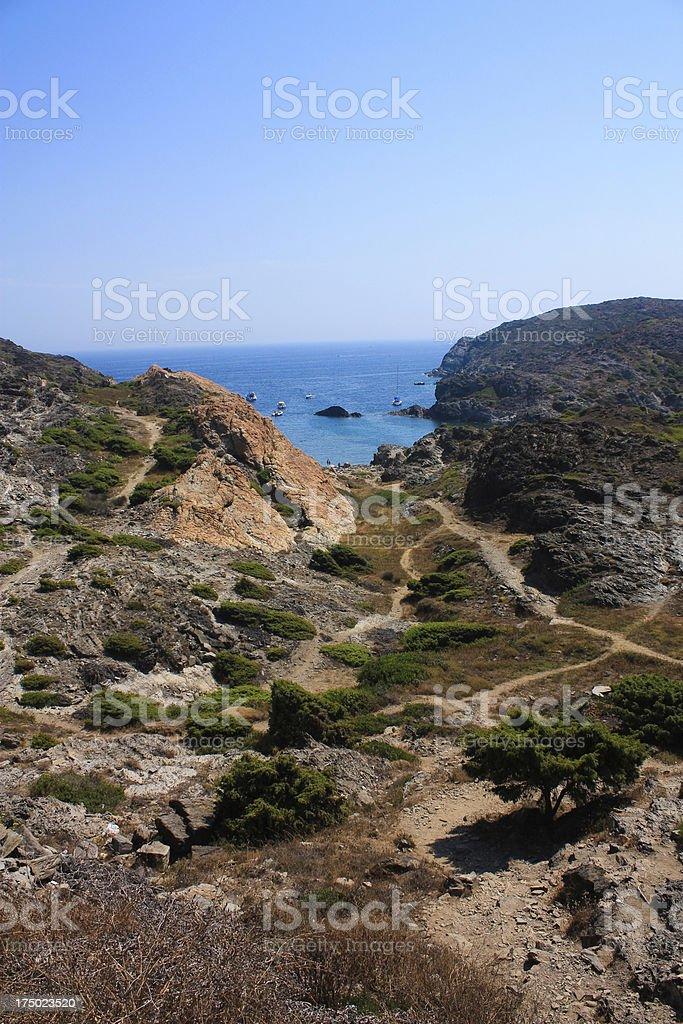 Boats at Cap de Creus, Gerona. Costa Brava. Spain royalty-free stock photo