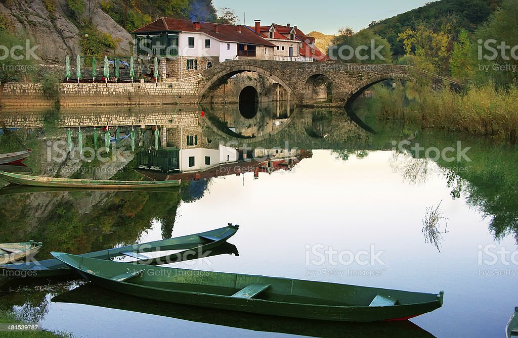 Boats at Crnojevica river, Montenegro stock photo