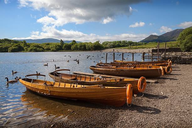 Boats at Derwent Water, The Lake District, Cumbria, England stock photo