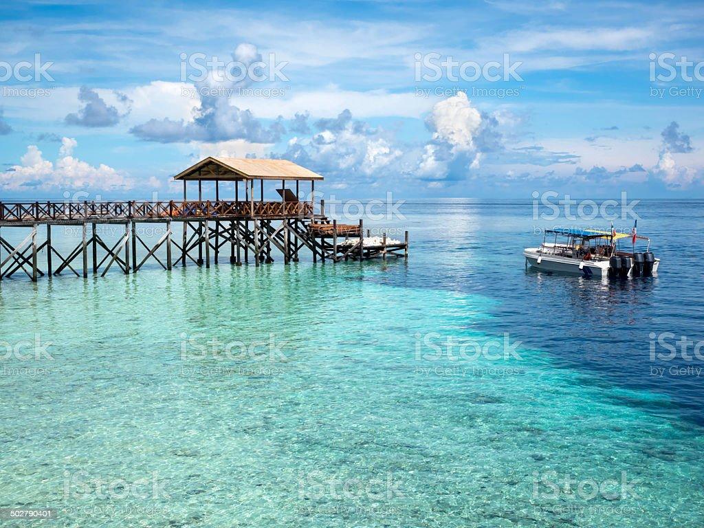 Boats at Dive Site in Sipadan Island, Sabah, Malaysia stock photo