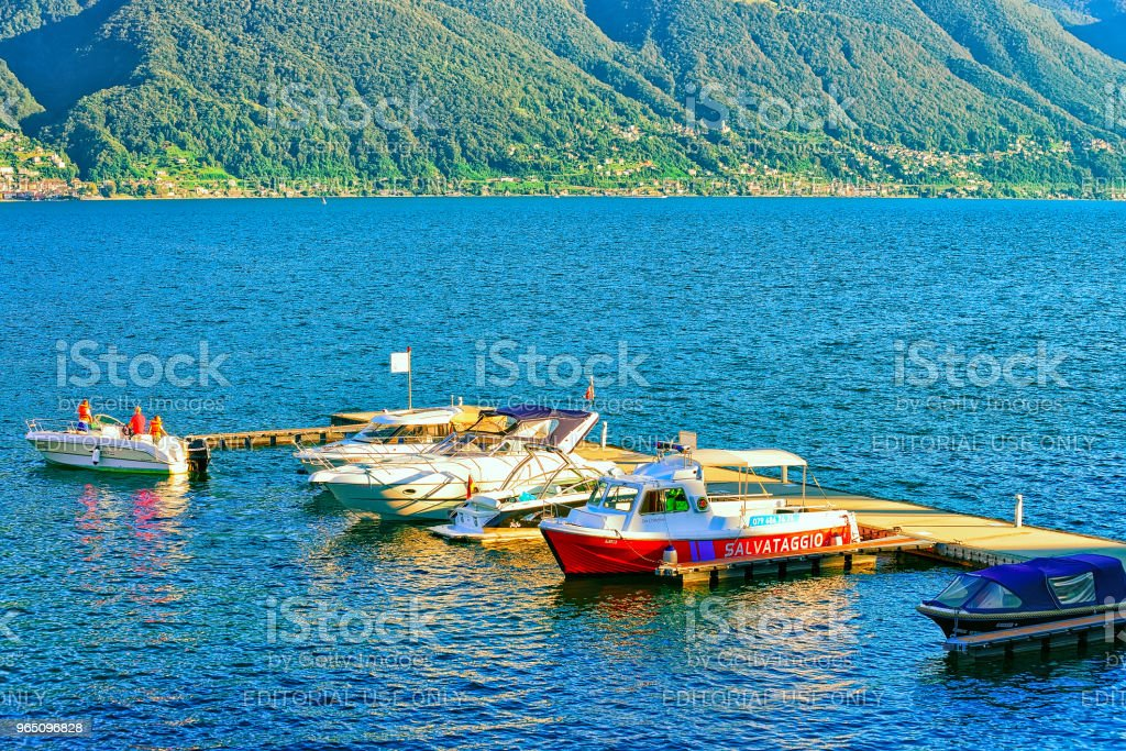 Boats at embankment in Ascona in Ticino of Switzerland CH royalty-free stock photo