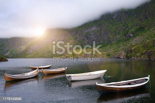 boats at idyllic lake in norway