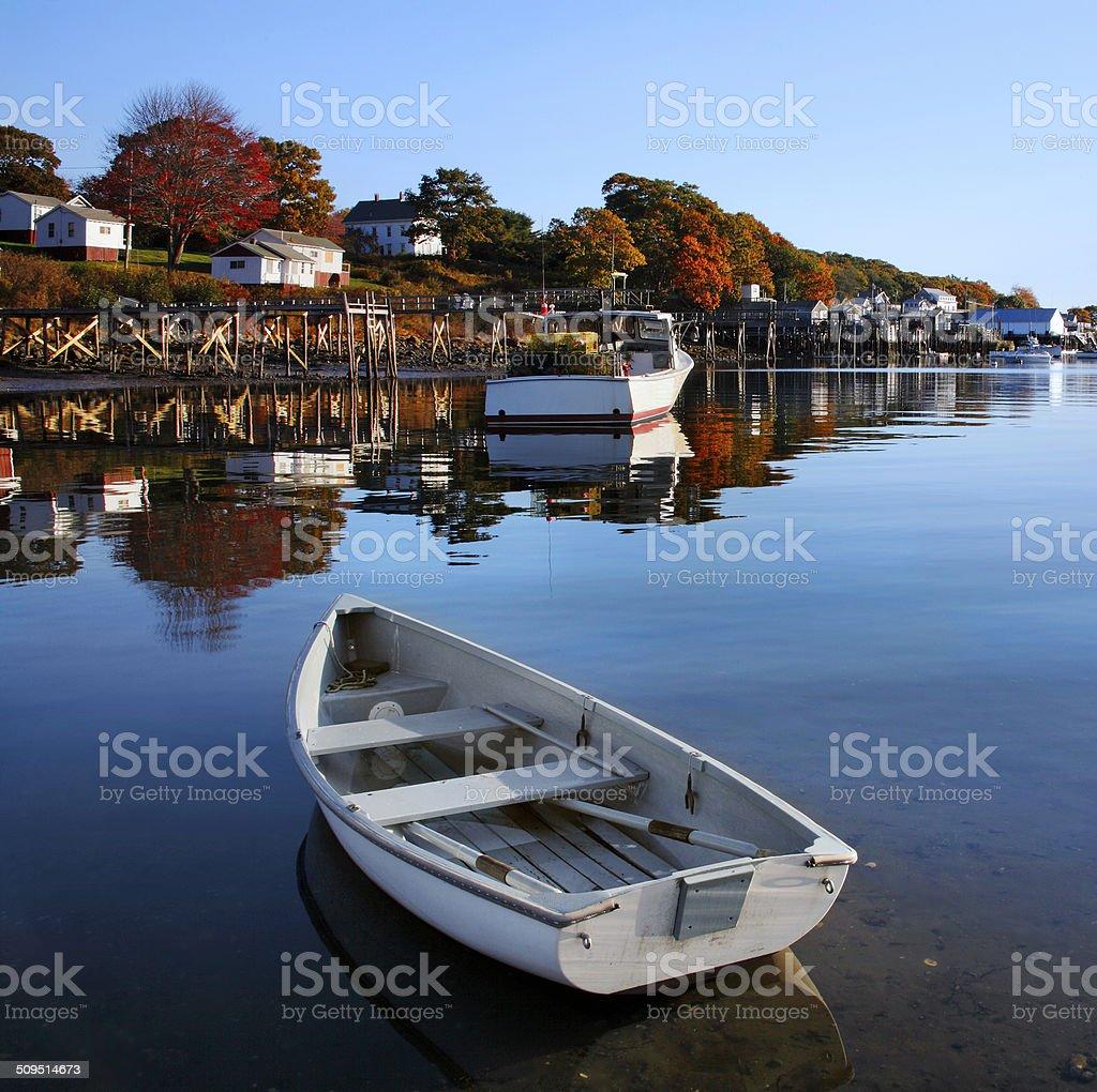 Boats At New Harbor stock photo