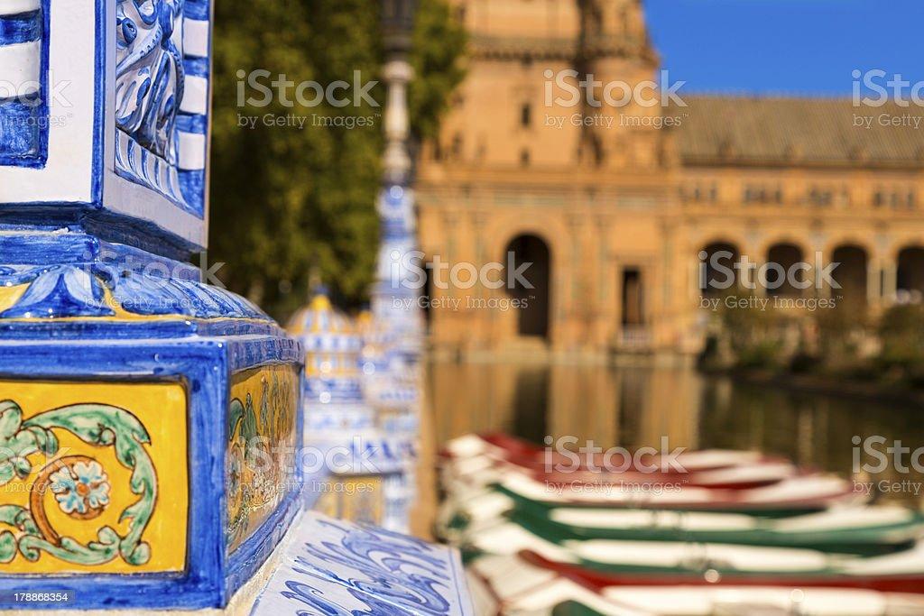 Boats at Plaza de Espana stock photo