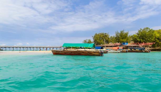 Boats at Prison Island, Zanzibar stock photo