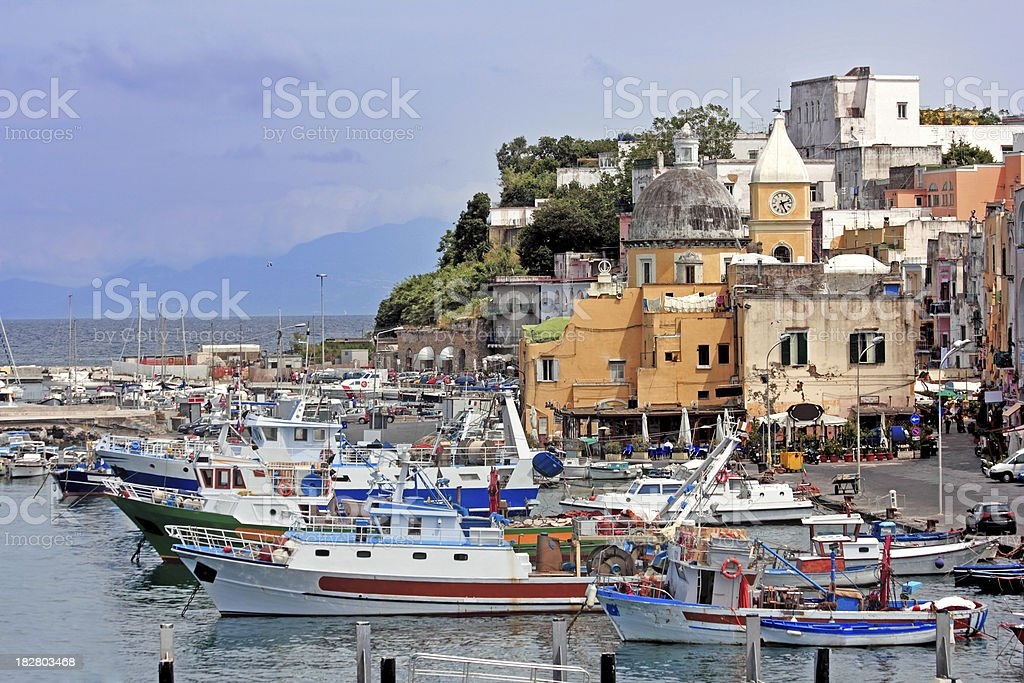 Boats at Procida royalty-free stock photo