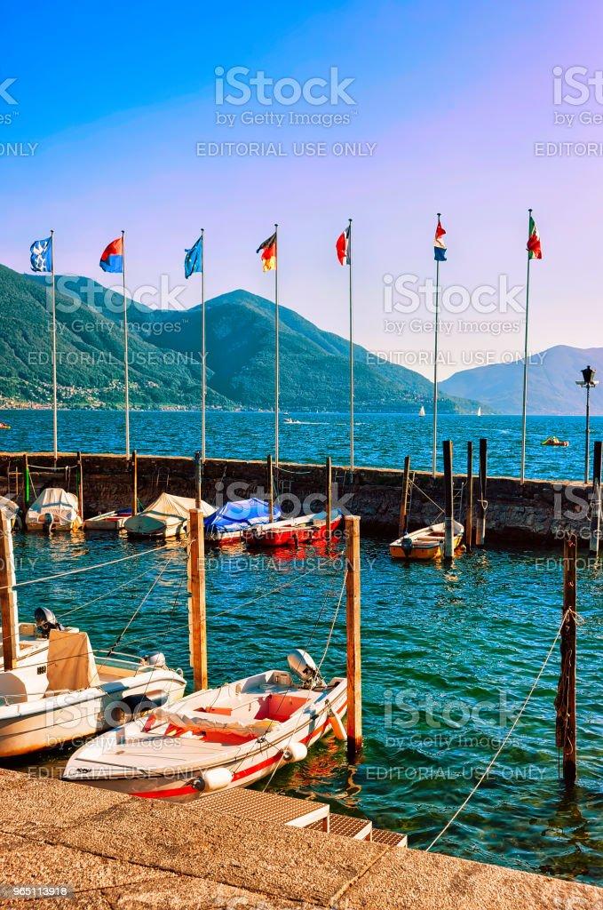 Boats at promenade Ascona in Ticino in Switzerland CH royalty-free stock photo