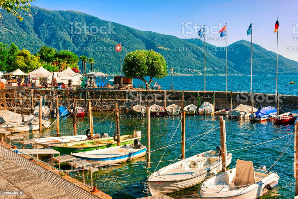 Boats at promenade of Ascona in Ticino in Switzerland CH royalty-free stock photo