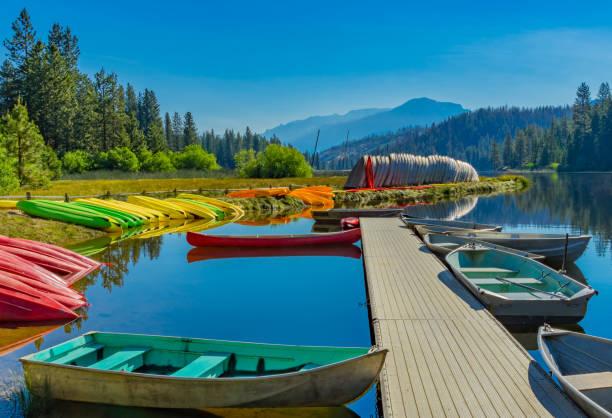 Boats at ramp,  Hume Lake near Kings Canyon National Park, CA (P) stock photo