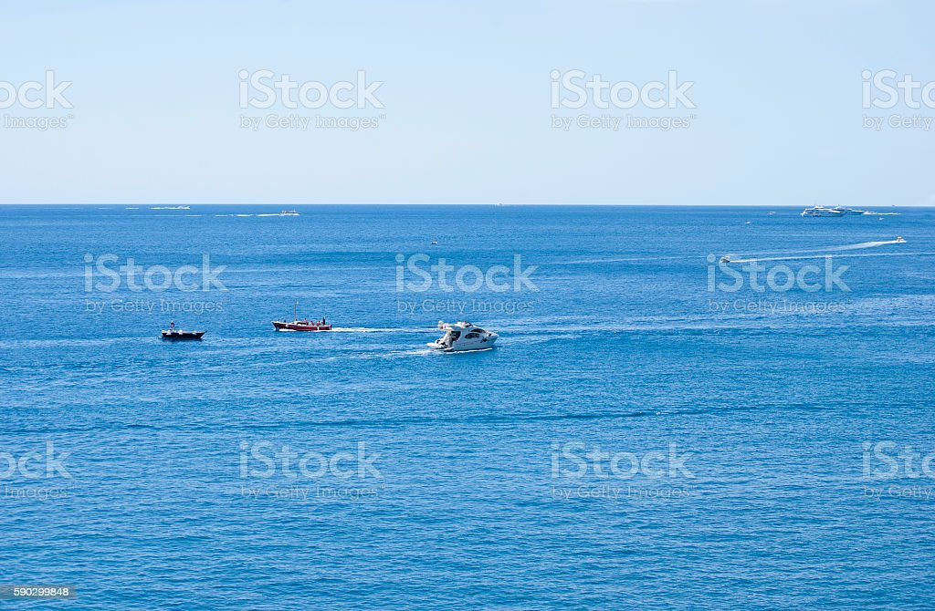 Boats at sea royaltyfri bildbanksbilder
