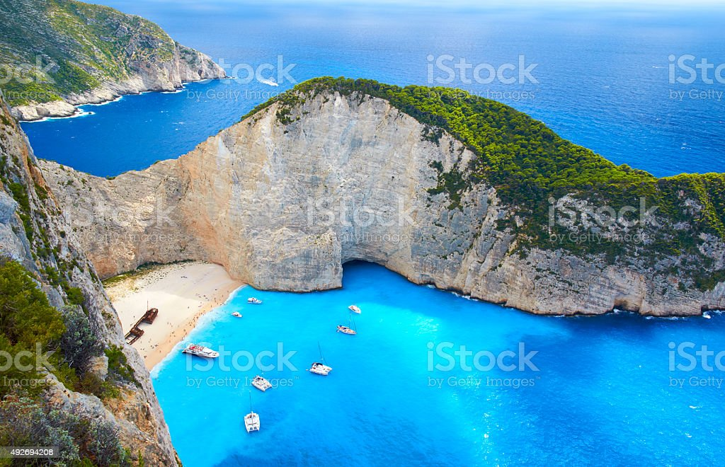 Boats At Shipwreck Beach, Zakynthos stock photo