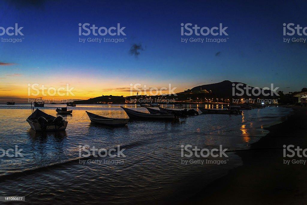 Boats at sunset Margarita island Venezuela royalty-free stock photo