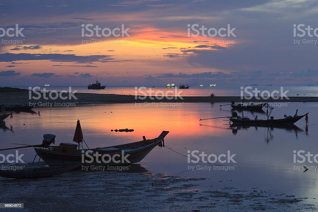 Boats at sunset. royalty-free stock photo