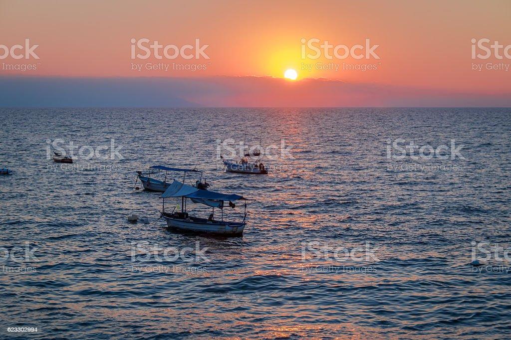 Boats at sunset - Puerto Vallarta, Jalisco, Mexico stock photo