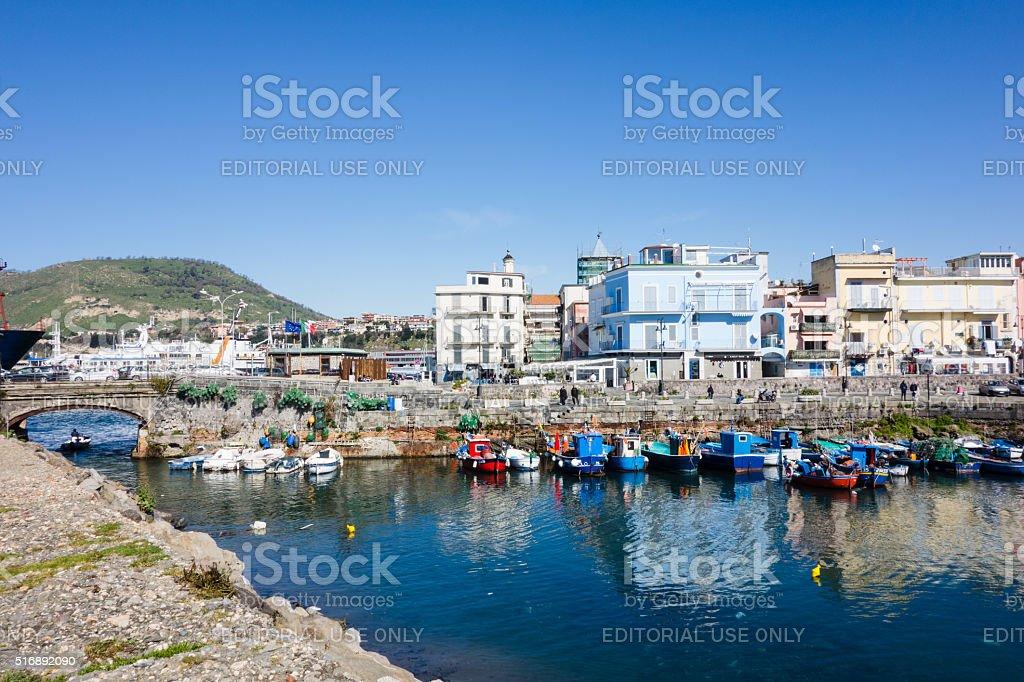 Boats at the Harbor of Pozzuoli, Naples, Italy stock photo