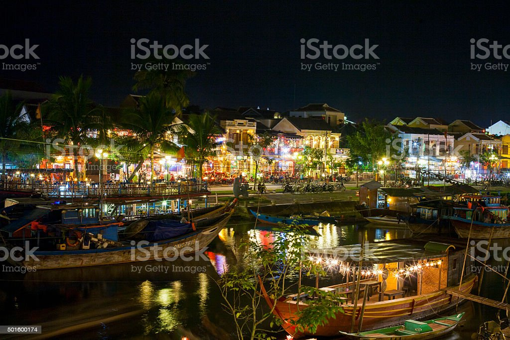 Boats at the river in Hoi An stock photo