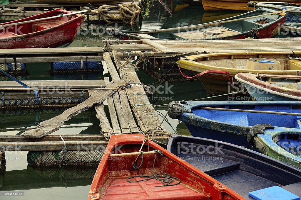 Boats at Yung Shue O, Lamma Island, Hong Kong stock photo