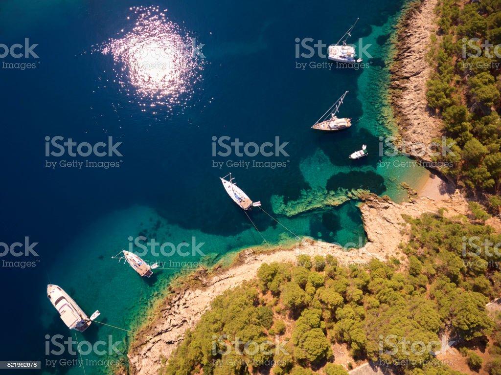 Boats by sea coastline stock photo
