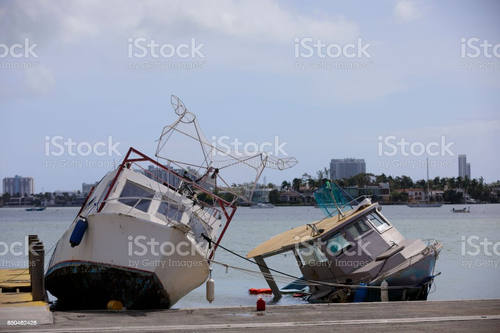Boats damaged from Hurricane Irma stock photo