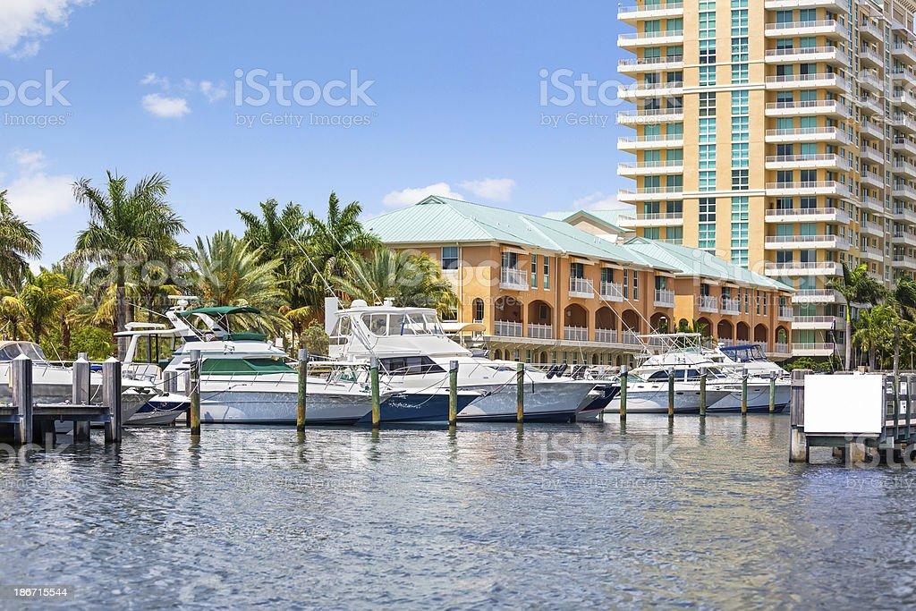 Boats docked at a Florida marina. stock photo