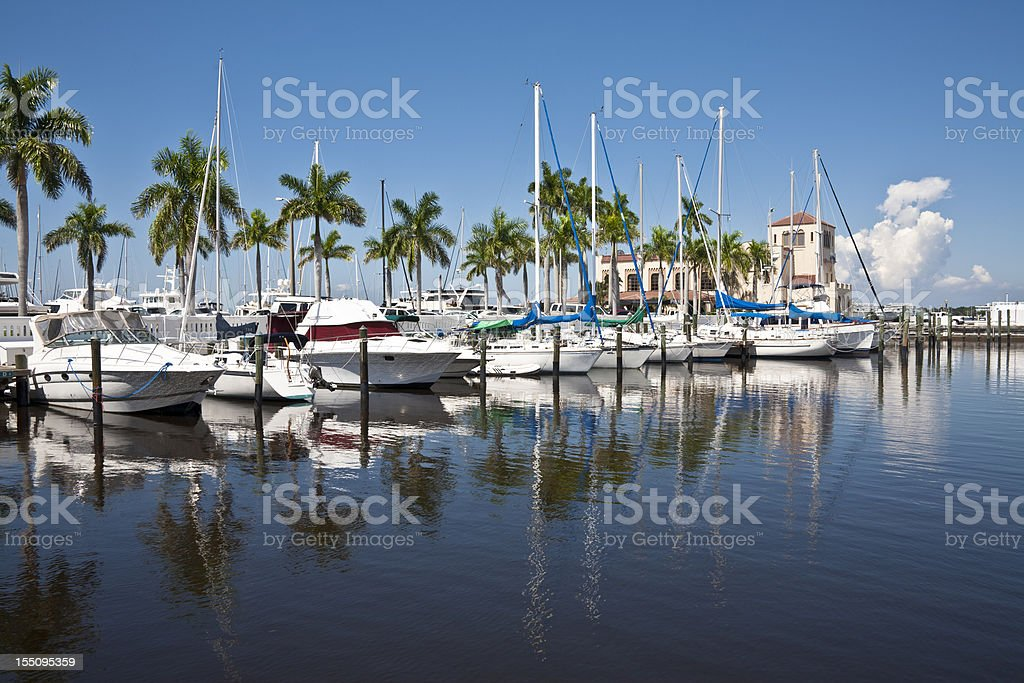 Boats Docked at a Marina stock photo