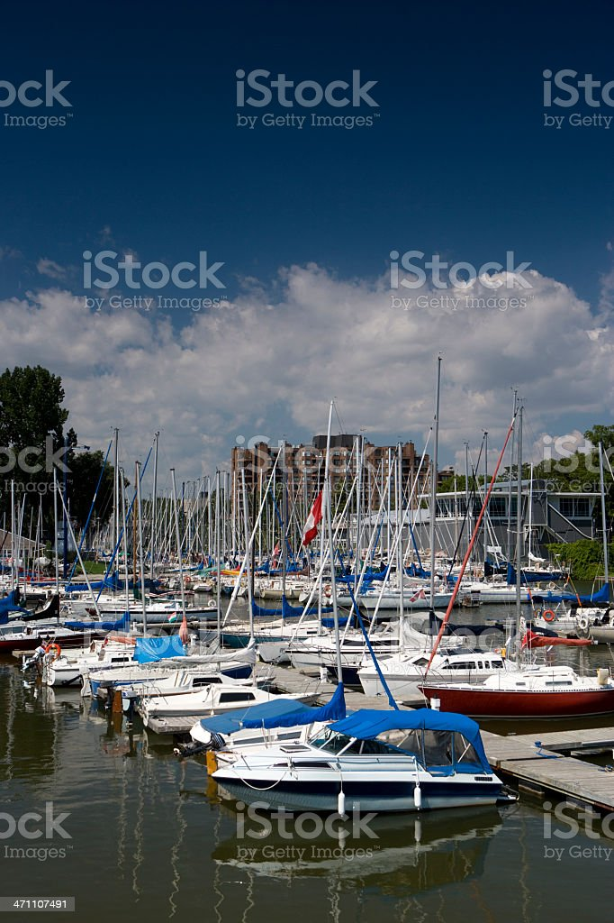 Boats docked at a pier royalty-free stock photo