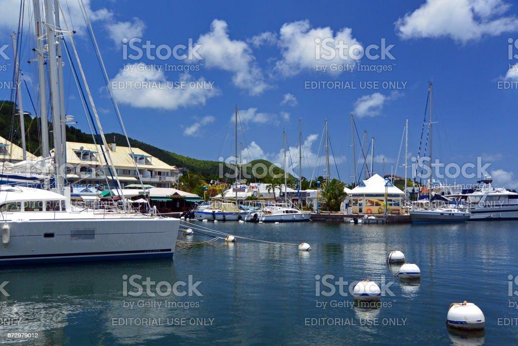 Boats docked at marina, Marigot, St Martin stock photo