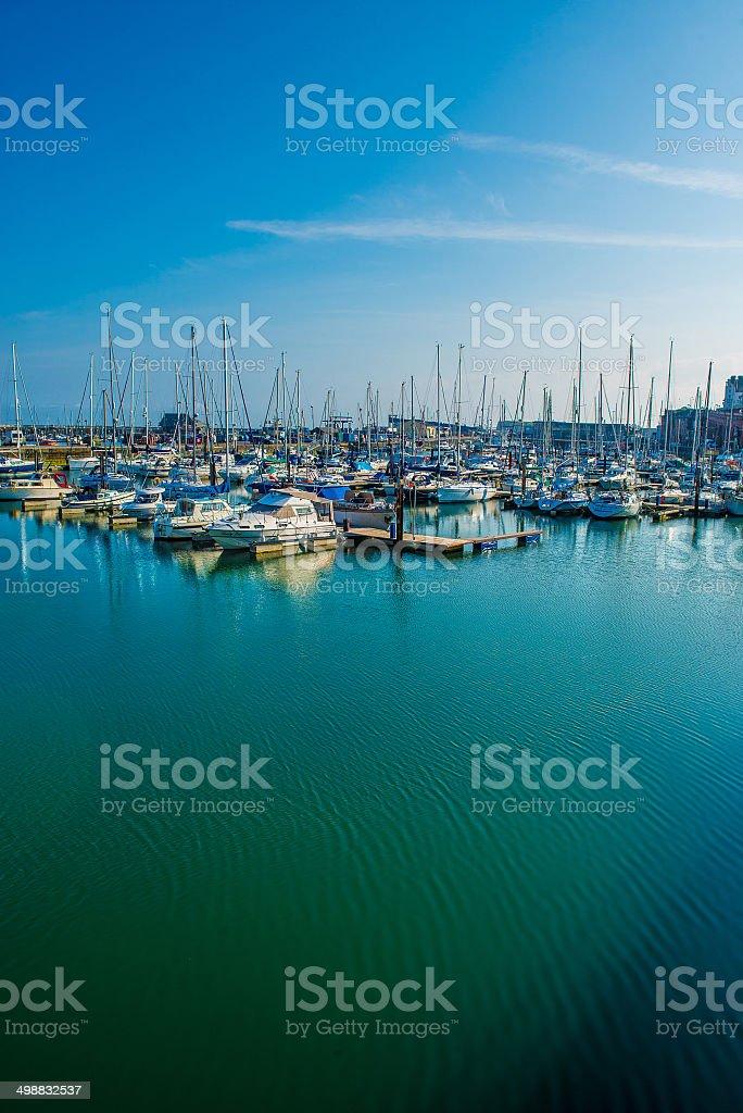 Boats docked at Ramsgate Marina stock photo