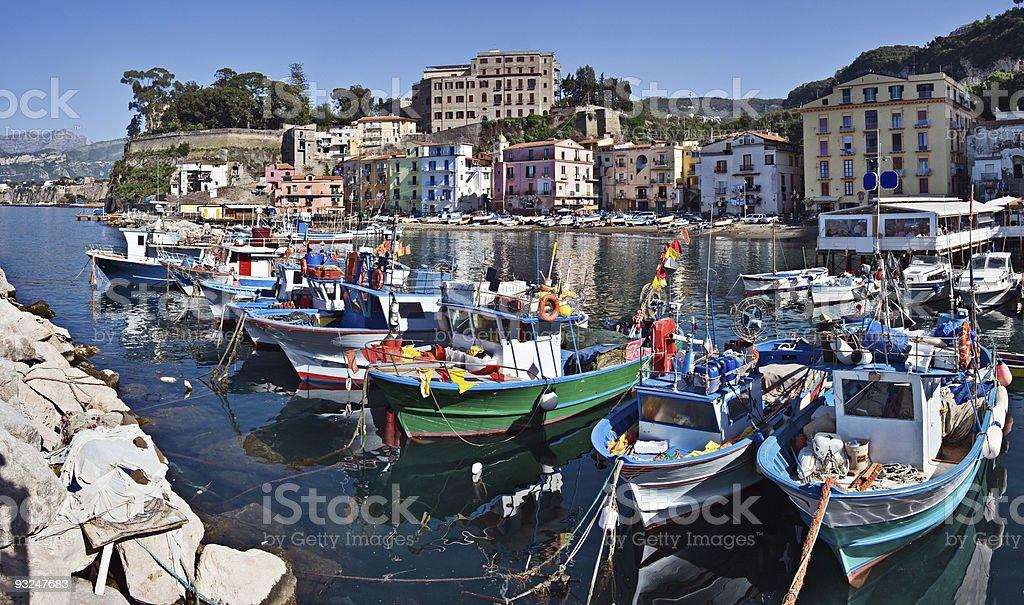 Boats docked at the Marina Grande in Sorrento, Italy stock photo