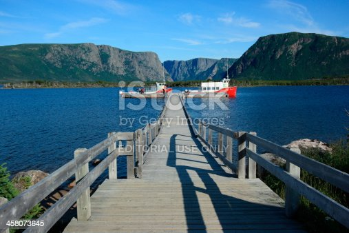 458694311 istock photo Boats Docked at Western Brook Pond 458073645