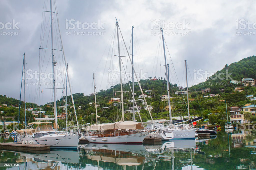 Boats docked in Grenada stock photo